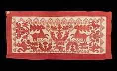 Textile (Panel)late 18th century, Russian, linen, cotton; The liveliness of the animals in this piece is typical of work prior to the 19th century. In Russian history, the stag was an important symbol of a hunting culture which was later replaced by the horse as society moved to agriculture.