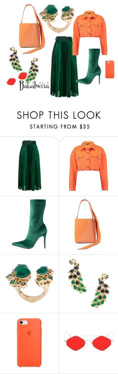 """""""green and orange"""" by babaluccia-1 on Polyvore featuring moda, Sacai, Public Desire, Calvin Klein 205W39NYC, Stephen Webster, Temple St. Clair e Spektre"""