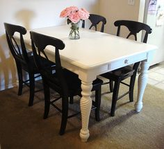 For when I'm brave enough to finally repaint Granny's antique dining set ... love the black & white combo!
