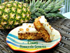 Chewy Pineapple Squares - Quick and delicious summer dessert with cream cheese frosting!