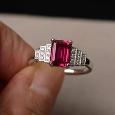 Lab Ruby Ring Anniversary Ring Emerald Cut Ring Sterling