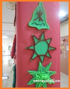 Hoy compartimos una idea original y sencilla para decorar el hall del colegio!  http://www.racoinfantil.com/manualidades/adornos-navide%C3%B1os/estrella-y-campana/