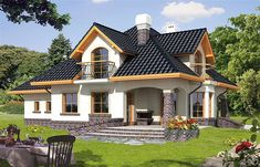 Ariadna I - Dobre Domy Flak & Abramowicz Bungalow Haus Design, Modern Bungalow House, Modern House Plans, Simple House Design, Modern House Design, Style At Home, House Design Pictures, Architectural House Plans, Architectural Styles