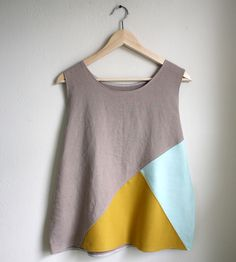 Mustard & Mint Colorblock Tank Top | Cut loose in breezy linen fabric, this geometric colorblock ta... | Shirts & Tops