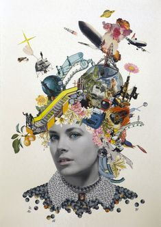 Pin-ups — Maria Rivans Dada Collage, Paper Collage Art, Collage Artists, Collage Artwork, Magazine Collage, Magazine Art, Sketchbook Cover, Collage Portrait, Shirt Print Design