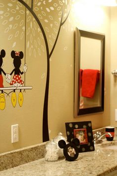 Mickey Bathroom - Love this! Perhaps going more the Pluto route. Mickey Mouse Bathroom, Mickey Mouse House, Mickey Mouse Nursery, Minnie Mouse, My New Room, My Room, Cozinha Do Mickey Mouse, Casa Disney, Disney Dream