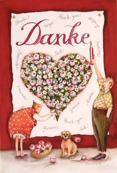 "Christina Thrän: Briefkarte ""Danke"" - New Ideas Birthday Cards, Happy Birthday, Thanks Card, Thank You Postcards, Oldies But Goodies, My Beauty, Diy Art, Wordpress Theme, Presents"