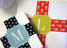 Monogrammed Gift Tags. Match the ribbon to the occasion eg. Christmas, birthdays, new baby etc.