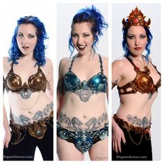 A trio of bra/belt sets modelled by Kim Berrier, photo by Nic Adams. These #bellydance sets are available for commission at OrganicArmor.com