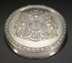 A George V silver-gilt Royal seal-box inkstand, Garrard & Co. Ltd., London, 1911