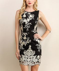 This Black & White Floral Sleeveless Dress is perfect! #zulilyfinds