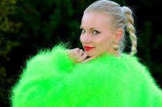 Green hand knitted mohair sweater fluffy soft fuzzy handmade jumper SUPERTANYA #SuperTanya #Crewneck