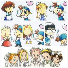 Harvest Moon Back to Nature Brides Harvest Moon Fomt, Harvest Games, Rune Factory, Childhood Games, Moon Lovers, Cute Chibi, Runes, Animal Crossing, Pixel Art