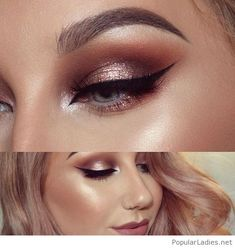 Glam bronze makeup with glitter and more