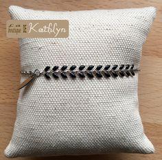 Bracelet EPI noir et argenté émaillé : Bracelet par la-boutique-de-kathlyn