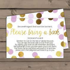 Baby shower Bring a book card Purple gold door Anietillustration