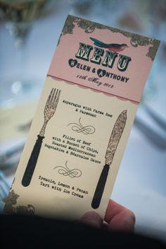 Vintage Bird Wedding Menu by In the Treehouse