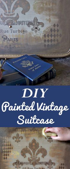 DIY Painted Vintage Suitcase Tutorial by Heather Tracy for Graphics Fairy. Great Home Decor Project Idea. Brought to you by Heirloom Traditions Paint Co. Cheap Diy Headboard, Diy Headboards, Easy Homemade Gifts, Diy Blanket Ladder, Diy Kitchen Decor, Graphics Fairy, Do It Yourself Home, Dose, Diy For Teens
