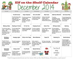 Yes!  This elf on the shelf calendar will make the month of December so easy.  So many great Elf ideas!