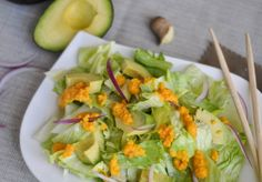 Avocado Salad with Carrot, Ginger & Miso Dressing – This delicious and bright dressing is inspired by the salad that is served at Japanese restaurants! http://crumbsandtales.com/avocado-salad-with-carrot-ginger-miso-dressing/