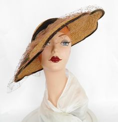 Vintage 1940s straw hat, Gone with the Wind picture hat, Casablanca style by TheVintageHatShop on Etsy