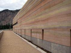 Rammed earth wall