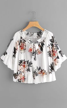 Peony Print Bow Tie Front Trumpet Sleeve Blouse