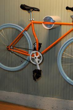 wall bike rack hanging display by DoerflerDesigns on Etsy Hanging Bike Rack, Bicycle Hanger, Diy Bike Rack, Wall Mount Bike Rack, Bike Storage Rack, Diy Garage Storage, Bike Mount, Shed Storage, Garage Organization
