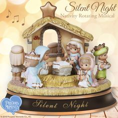 """Give the gift of faith, beauty and song this Christmas and enjoy your celebration of that most holy night with our elegant musical Nativity set. Plays the classic song """"Silent Night"""".   #PreciousMoments #LifesPreciousMoments #Christmas #Nativity"""