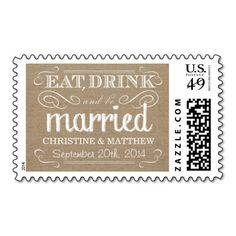 Rustic Burlap Eat Drink be Married Wedding Postage Stamps $23.15 per sheet of 20