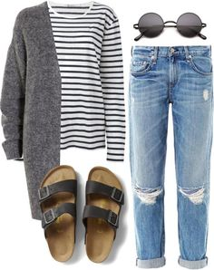 Women's Fashion: Spring, Summer, Early Fall Style (Long Sleeve Striped Tee, Grey Cardigan Sweater, Distressed Boyfriend Denim Jeans, Round Sunglasses, Birkenstock Leather Sandals) | #womensfashion