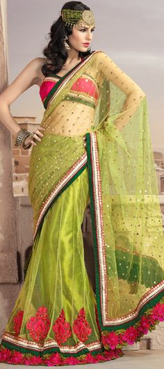 Check it out this latest machine embroidered lehenga style saree....  Awesome colour combination...!!!!  buy@-> http://www.indianweddingsaree.com/product/72310.html