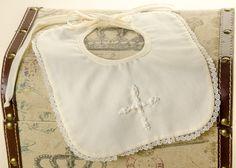 Pretty Originals Style BD1325 Cream Cotton Mix Christening Bib with Lace Trim