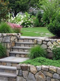 Rock wall and step perfection....plus, tips for selecting a lawn maintenance company