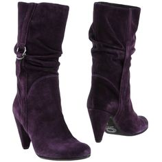 Populaire Ankle Boots ($27) ❤ liked on Polyvore featuring shoes, boots, ankle booties, purple, purple ankle boots, rubber sole boots, round toe boots, leather ankle bootie and real leather boots
