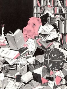 hippo reading books