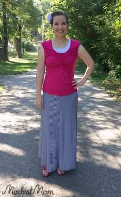 The Modest Mom Monday link up & fashion outfit with a Maxi skirt with pink shirt