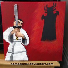 Samurai Jack Perler beads on canvas by NomDePixel
