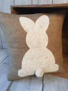 Burlap easter bunny pillow by thelittlegreenbean on Etsy https://www.etsy.com/listing/221932897/burlap-easter-bunny-pillow