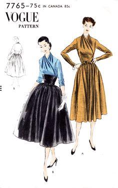 Vogue 7765 1950s dress vintage sewing pattern