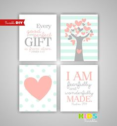 Printable DIY Girl Nursery Art Prints, Peach, Light Coral, Mint, Heart, Tree, Every good and perfect gift..., Set of 4 8x10 JPG ( stpm )