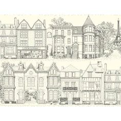 York Wallcoverings Ashford Toiles Brownstone Terrace Removable Wallpaper in Blue Scenic Wallpaper, Brick Wallpaper, Wallpaper Panels, Wallpaper Roll, Toile Wallpaper, Paris Wallpaper, Pattern Wallpaper, Black And White Wallpaper, Design Repeats