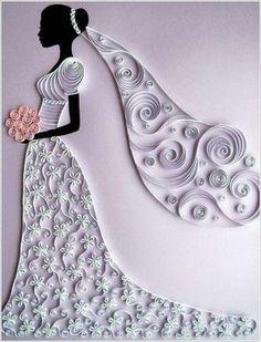 Poder nas mãos: Quilling  A noiva bonita com um buquê de flores   ...