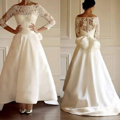 Wholesale Off the Shoulder - Buy Vintage Off The Shoulder Wedding Dresses A Line Long Sleeve Lace Floor Length Covered Button Satin Bow 2015 Maison Yeya Wedding Dresses, $67.02 | DHgate.com