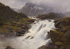 Norway by Karl Paul Themistokles von Eckenbrecher — Atlas of Places Landscape Art, Landscape Paintings, Lofoten, Old Art, Athens, Norway, 19th Century, Travel, Outdoor