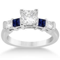 5 Stone Princess Diamond & Sapphire Engagement Ring 18K W. Gold 0.46ct-Allurez.com