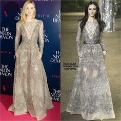 Elle Fanning in Elie Saab Couture at The Neon Demon London Premiere