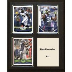 C & I Collectables NFL 8 inch x 10 inch Kam Chancellor Seattle Seahawks 3-Card Plaque