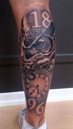 Fabulous Owl and Clock Calf Tattoo Designs