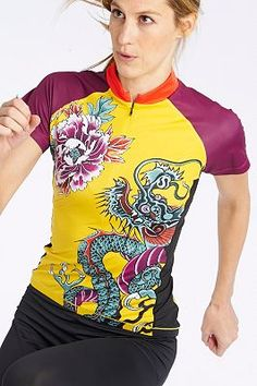 Asian Print jersey for women - Performance Cycling and Workout Apparel by YMX.